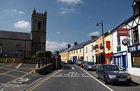 one way main street through foxford a traditional small irish town in county mayo republic of ireland