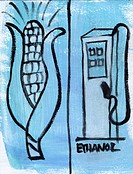 Illustration of alternative fuels - corn and ethanol