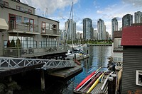 Houseboats on the dock of Grandville Island, Vancouver City