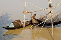 Chinese fishing nets on the way to Bogra, Bangladesh