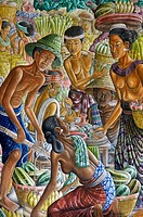 A painting of  Balinese in a market situation in Ubud, Bali