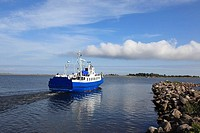 departing ferry at the port Munalaiu near Paernu, Estonia, Baltic Nation, Eastern Europe