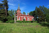 wooden church at Seliste, Estonia, Baltic Sea, Eastern Europe