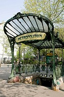 France, Paris 75  Metro sign at Abbesses station