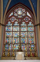 France, Paris 75  Notre Dame cathedral interior, stained glass window