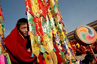 Gelug (Yellow Hat sect) ceremony, Gerdeng Tibetan Monastery in Aba, Sichuan, China
