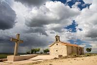 Viso hermitage, in the agricultural landscape in Monterrubio De La Armuna  Salamanca  Castille and Leon  Spain