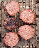 Hamburgers on a barbeque
