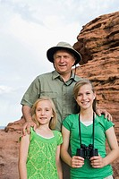 A father and two daughters at Red Rock