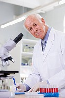 Lab technician working in laboratory