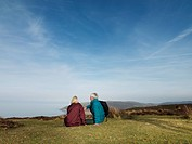 mature couple relaxing on moor