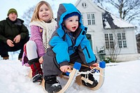 Scandinavian children on a sled