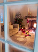 Christmas tree and gifts near fireplace in living room