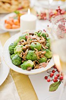 Bowl of brussels sprouts on Christmas table