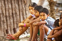 Seating children, Terra Preta Community, Negro River, Iranduba, Amazonas, Brazil