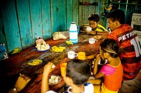 Family Taking Breakfast, Caioezinho Community, Negro Rivers, Novo Airão, Amazonas, Brazil
