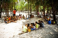 Seating children in the Ground, Terra Preta Community, Iranduba, Amazonas, Brazil