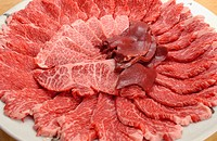 Sliced raw meat on plate, close up