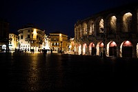 Verona illuminated at night, Italy
