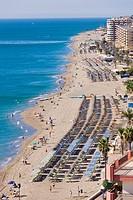 Aerial view over Santa Amalia beach, Fuengirola, Malaga Province, Costa del Sol, Spain