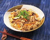 Steamed rice with mushrooms