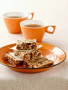 Date and nut slices and two cups of tea