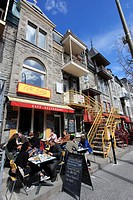 Canada, Quebec, Montreal, rue St-Denis street, cafe, people