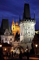 Czech Republic, Prague, Lesser Town Bridge Tower, St Nicholas Church