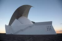 side view of the Auditorio De Tenerife designed by Santiago Calatrava santa cruz tenerife canary islands spain