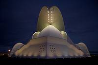 front view of the Auditorio De Tenerife illuminated at night designed by Santiago Calatrava santa cruz tenerife canary islands spain