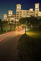 United Arab Emirates, Dubai, Al Safouh First District, traditional wind tower details of the Al Qasr Hotel in the Madinat Jumeriah resort complex at n...