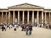 British Museum london with visitors at the main entrance