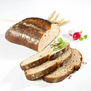 Organic bread, partly sliced