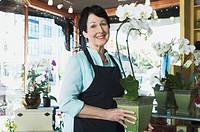 Florist working at flower shop
