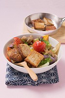 Smoked tofu with roasted vegetables in oil and lemon