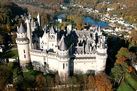 France, Oise, Pierrefonds, the castle aerial view