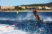 France, Var, Bormes les Mimosas, La Faviere Beach, water skiing