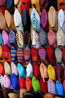 Morocco, High Atlas, Marrakesh, Turkish slippers in souk