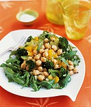 Chickpea and Broccoli Salad with Yellow Bell Pepper