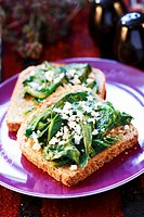 Spinach and feta on wholemeal toast