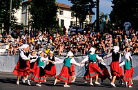 France, Pyrenees Atlantiques, Sare village, labelled Les Plus Beaux Villages de France The Most Beautiful Villages of France, traditional festival