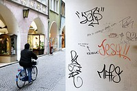 Graffiti in the shopping arcades of Bolzano, Alto Adige, Italy