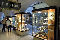 Shoe shopping in the arcades of Bolzano, Alto Adige, Italy