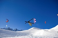France, Hautes Alpes, Serre Chevalier, snow kite
