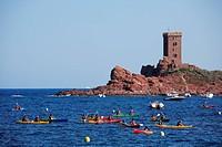 France, Var, Esterel Corniche, Agay village, Cap Dramont and ile d´ Or Golden Island