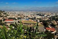 Madagascar, Analamanga region, Antananarivo Tananarive or Tana, view over stadium of the city from historical quarter of Andahalo on the height of the...