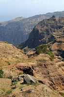 Cape Verde, Santo Antao Island, landscape along Estrada da corda Rope Road crossing the island North to South