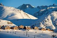 France, Isere, L´Alpe d´Huez, ski resort, 4 star hotel Les Chalets de l´Altiport Altiport´s chalets