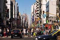 Argentina, Buenos Aires, San Nicolas District, Avenida Corrientes, the Obelisk in the background