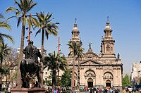 Chile, Santiago de Chile, Plaza Las Armas, the cathedral and equestrian statue of Don Pedro Valdivia